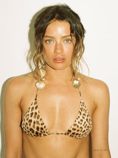 That 90's Vibe Leopard Padded Triangle Bikini Top - - Luxury Bikini Tops | Monica Hansen Beachwear
