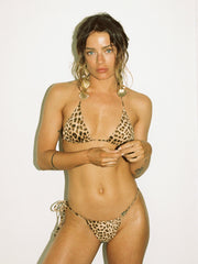 That 90's Vibe Leopard String Bikini Bottom - - Luxury Bikini Bottoms | Monica Hansen Beachwear