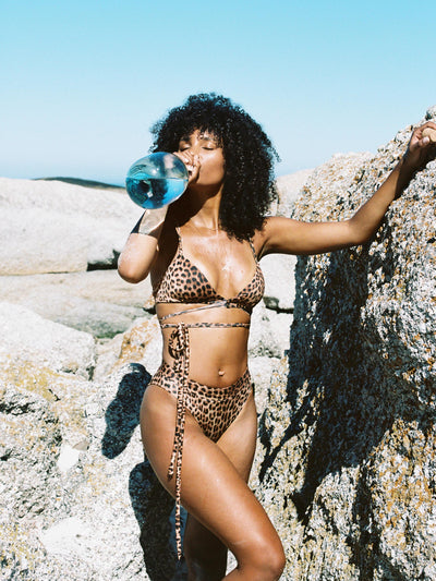 That 90's Vibe Leopard Wrap Around Bikini Top - - Luxury Bikini Tops | Monica Hansen Beachwear