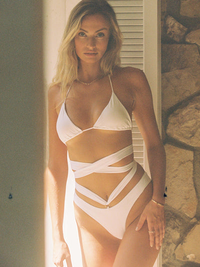 Bottom with wide criss cross straps-Monica Hansen Beachwear