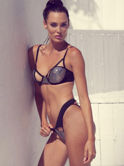 Disco Fever Black Metallic Bikini Bottom - - Luxury Bikini Bottoms | Monica Hansen Beachwear
