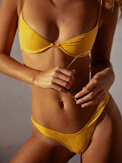Start Me Up Underwire Suede Bra Swimsuit Top - - Luxury Bikini Tops | Monica Hansen Beachwear