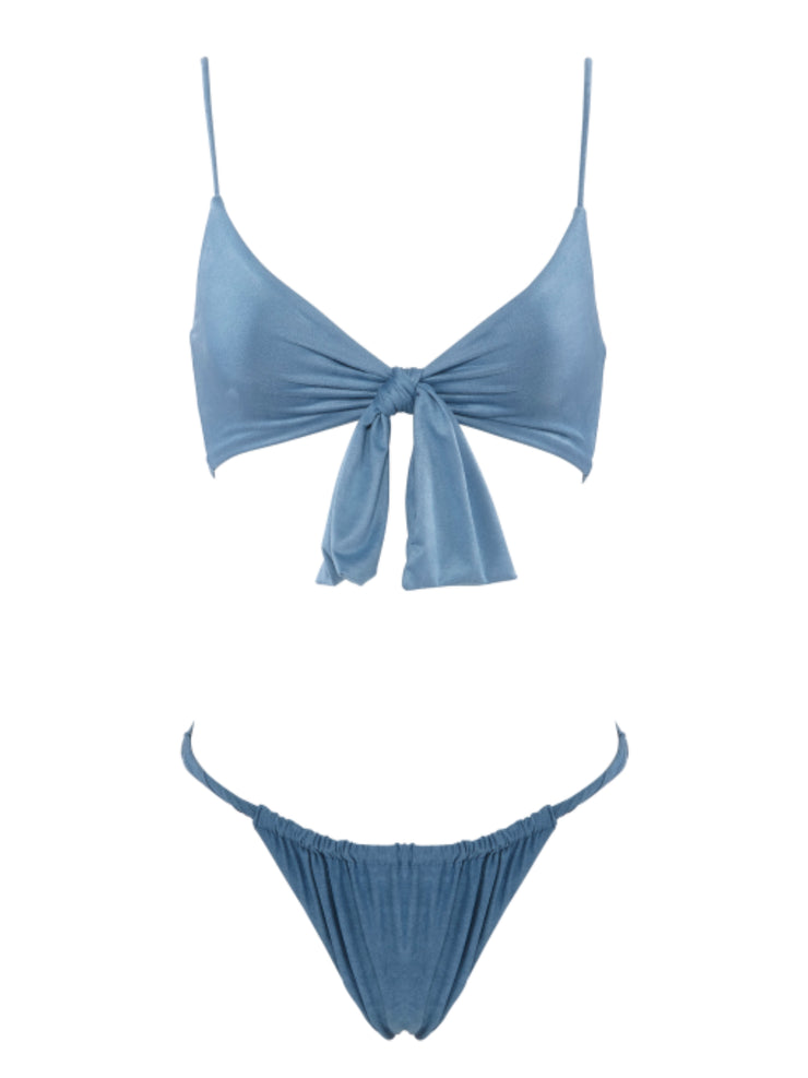 Start Me Up Suede Swimsuit Top With Detachable Front Bow - BlueSuede - High End Bikini Tops | Monica Hansen Beachwear
