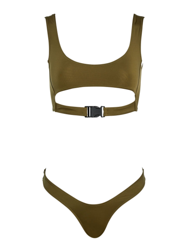 "Slay Baby ""U"" Bikini Bottom - SafariGreen - Sexy Bathing Suit Bottoms 