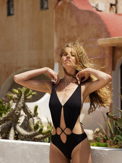 That 90's Vibe Flower Cut Out One Piece-Monica Hansen Beachwear