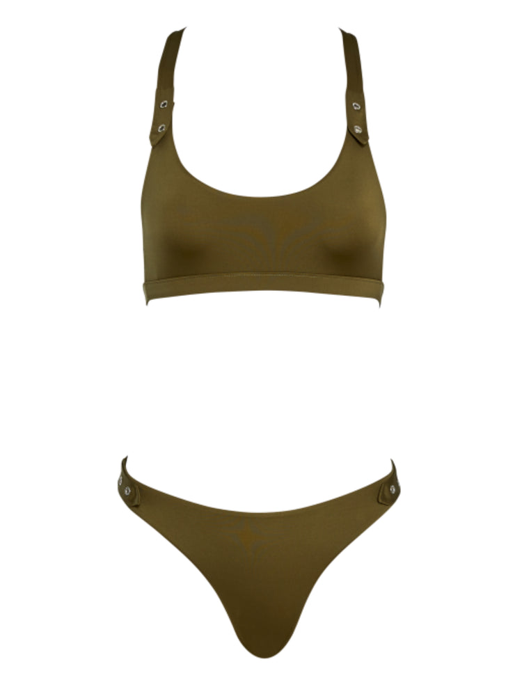 Glamazon Bikini Bottom - SafariGreen - High End Bikini Bottoms | Monica Hansen Beachwear