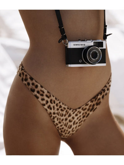 "That 90's Vibe Leopard Suede ""V"" Bikini Bottom - - Luxury Bikini Bottoms 
