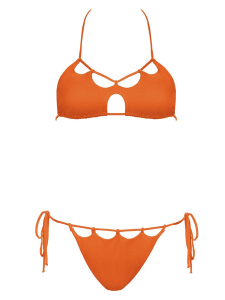 California Dreaming Orange Scalloped Halter Top