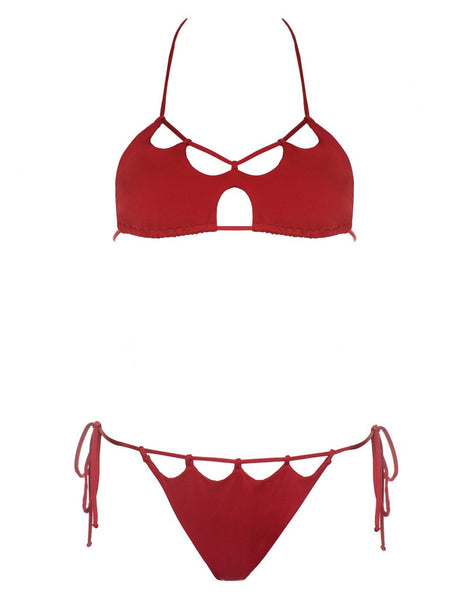 California Dreaming Burgundy Scalloped Halter Top