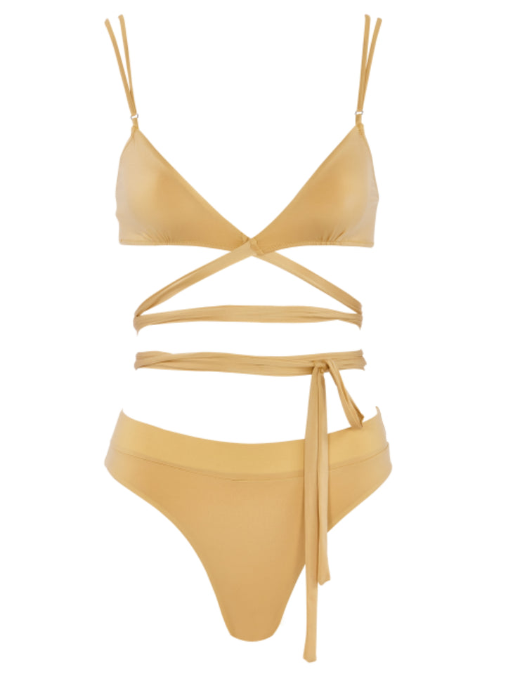 That 90's Vibe Wrap Around Bikini Top - Gold - Sexy Swimsuit Tops | Monica Hansen Beachwear
