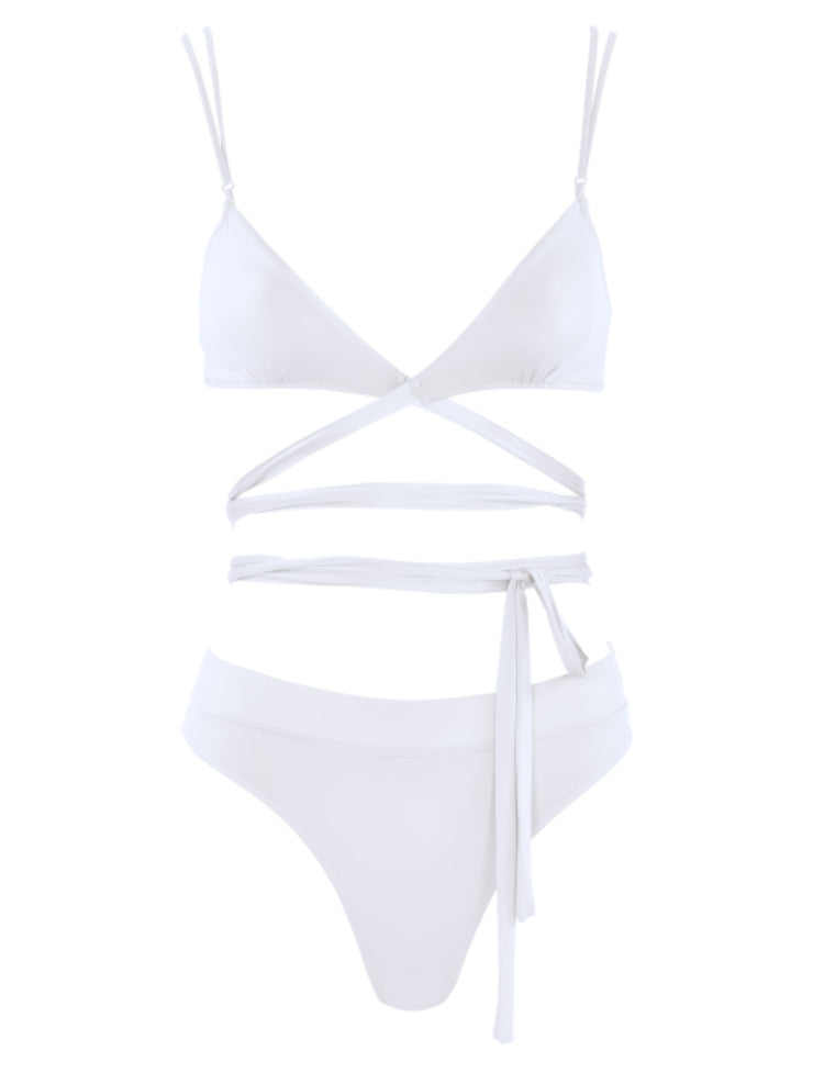 That 90's Vibe Wrap Around Bikini Top - White - Luxury Bathing Suit Tops | Monica Hansen Beachwear