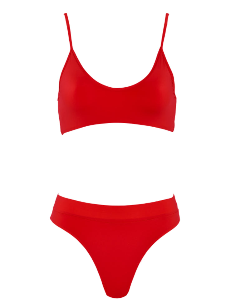 That Sporty Vibe Spaghetti Strap Swimsuit Sports Bra - Red - Sexy Bathing Suit Tops | Monica Hansen Beachwear
