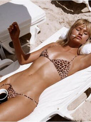 That 90's Vibe Leopard String Bikini Bottom - - High Fashion Two-piece Bottoms | Monica Hansen Beachwear