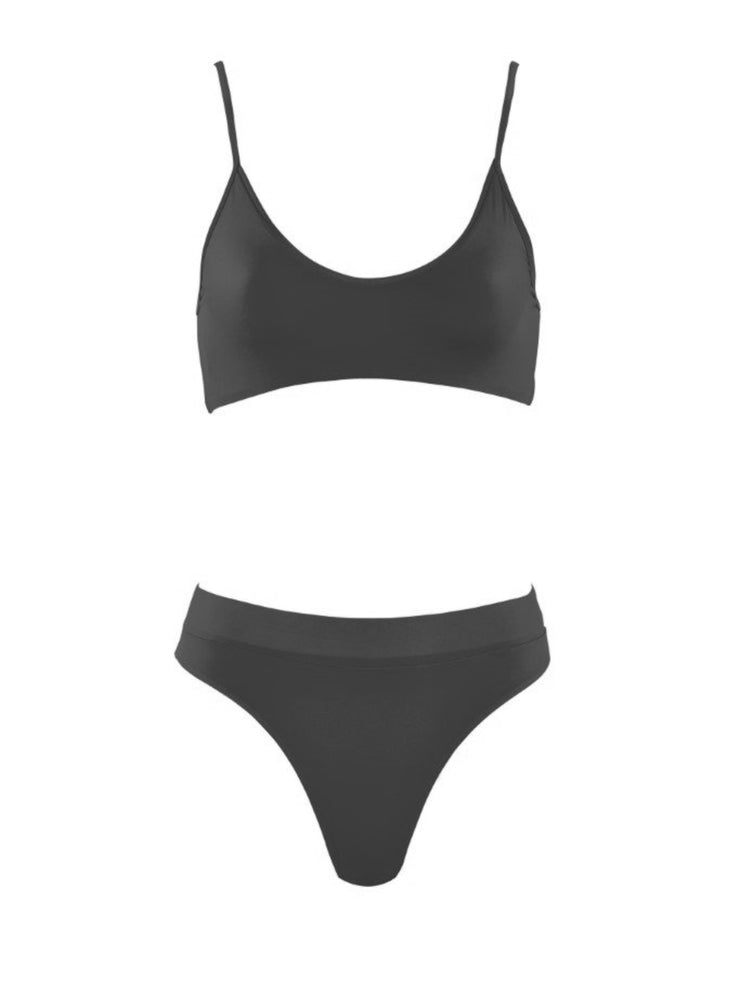 That Sporty Vibe Spaghetti Strap Sports Bra - Luxury Swimsuit Tops | Monica Hansen Beachwear