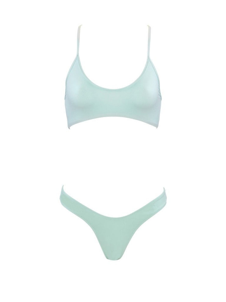 That Sporty Vibe Spaghetti Strap Sports Bra - Designer Bathing Suit Tops | Monica Hansen Beachwear