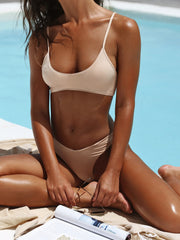 That Sporty Vibe Spaghetti Strap Swimsuit Sports Bra - - Designer Two-piece Tops | Monica Hansen Beachwear