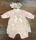 Floral Bouquet Lace Skirted Romper with Head Band