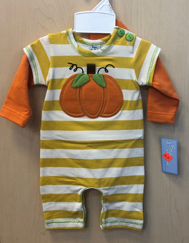 Boys 'N  Berries Pumpkin Striped Romper with Pumpkin Hat