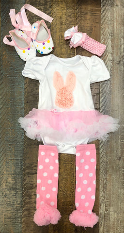 Pink Bunny Tutu Onesie with Socks, Shoes, and Headband