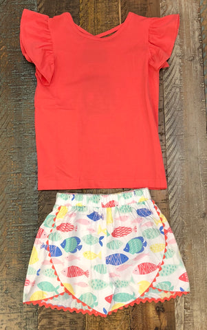 Sage and Lilly Tropical Fish Kailtyn Cross Back Tee Set