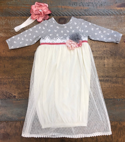 Peaches n' Cream Gray and Ivory Gown with Rose Headband