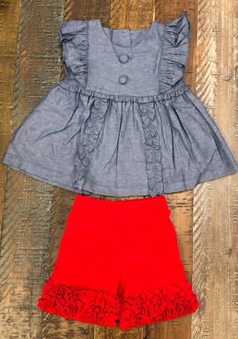 Sage and Lilly Chambray Lilly Ruffle Panel Set- Red