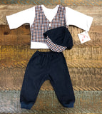 Preemie-Yums Plaid Vest, Pant, And Cap