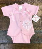 Preemie-Yums Pink Double Bow Onesie