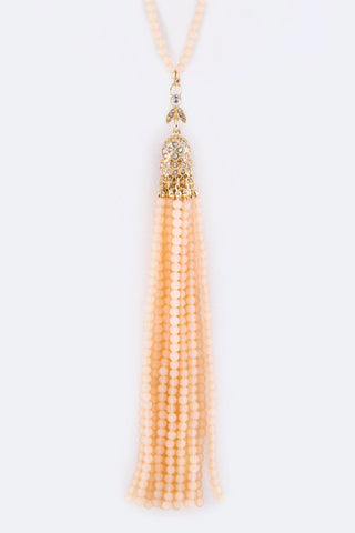Faceted Bead Tassel and Chain Necklace - Accessory