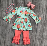 Mint Floral Top with Coral Ruffles