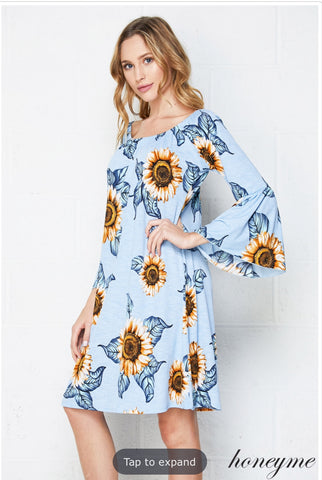 Women SunFlower Tunic Dress ( Also Available in Plus Sizes) by Honey Me