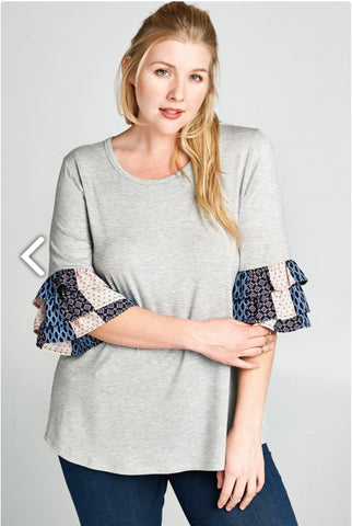 Tiered Sleeve Contrast Top - Plus Size