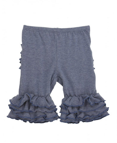 Ruffle Butts Faux Denim Ruffle Bermuda Shorts