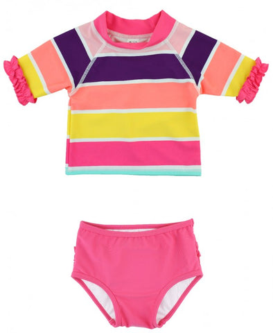 Ruffle Butts Rainbow Stripe Ruffled Bikini