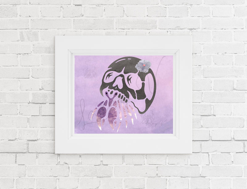 Skull Watercolor Crab Print