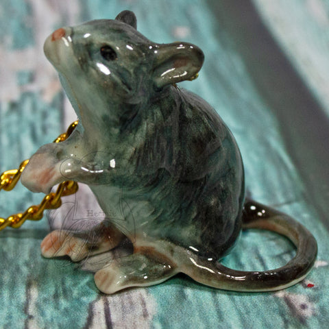 Clay Gray Rat Necklace