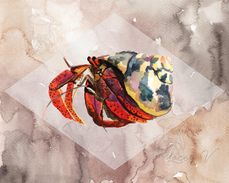 Brown Watercolor Crab Print