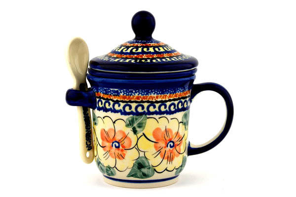 12 oz Brewing Mug with Spoon Zaklady Ceramiczne UNIKAT H3668C