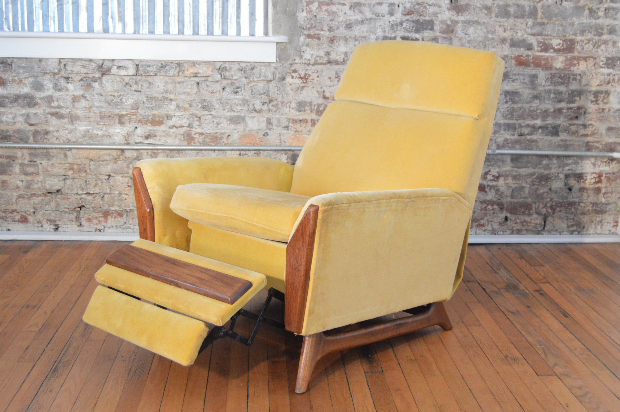 Mid Century Modern Recliner by Adrian Pearsall in Yellow Velvet