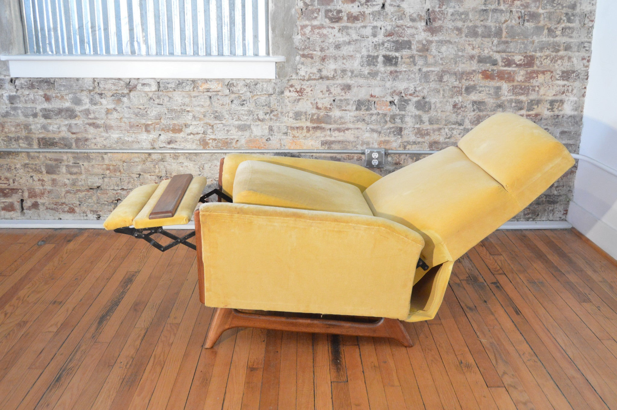 mid century modern recliner by adrian pearsall in yellow velvet upholstery. mid century modern recliner by adrian pearsall in yellow velvet