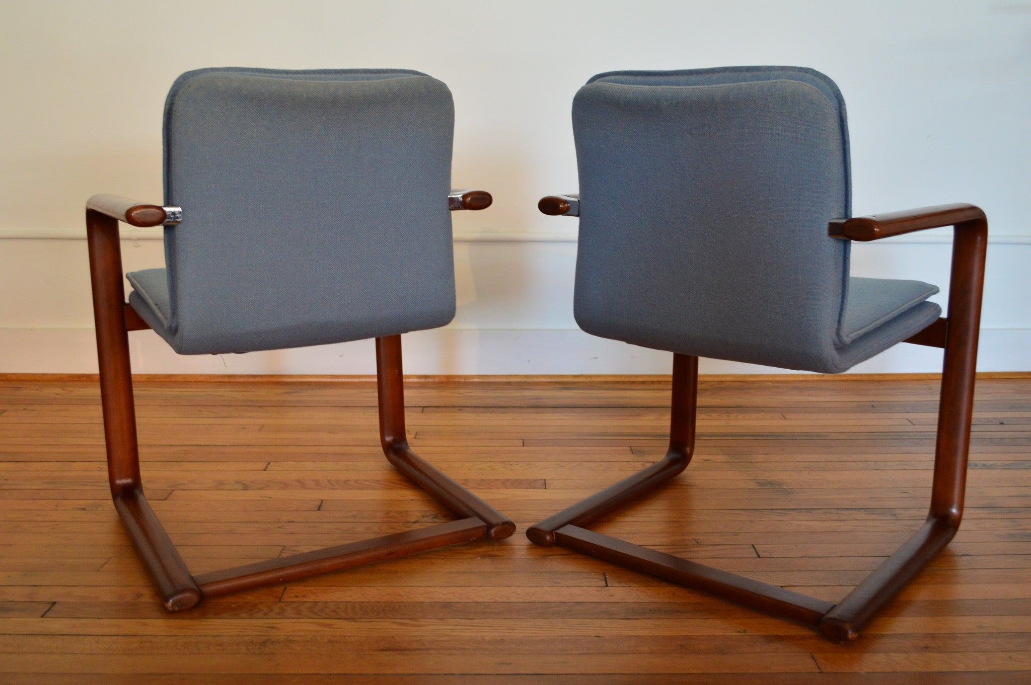 Pair of Mid Century Cantilever Bentwood Chairs in Blue Upholstery