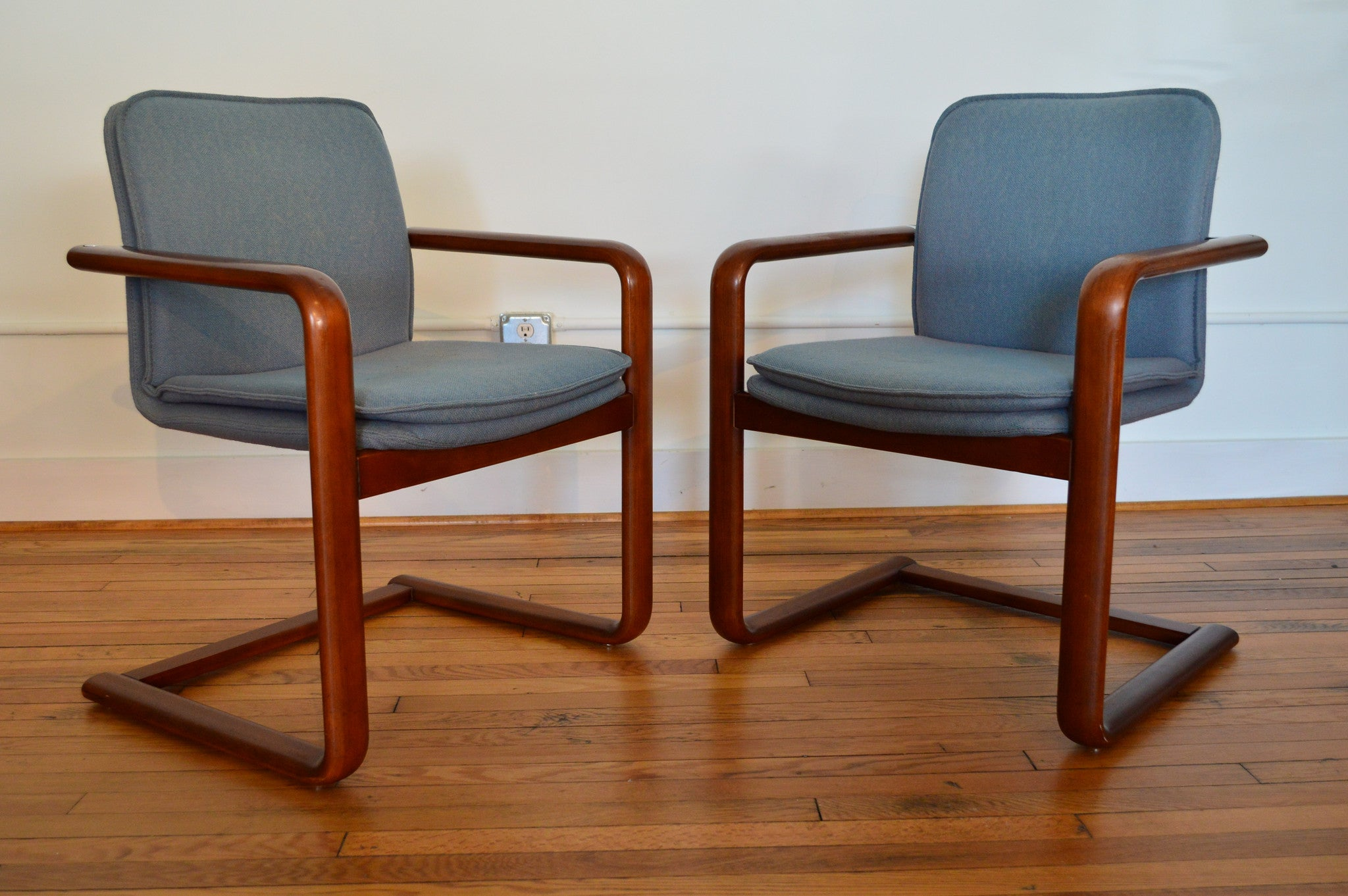 Pair Of Mid Century Cantilever Bentwood Chairs In Blue