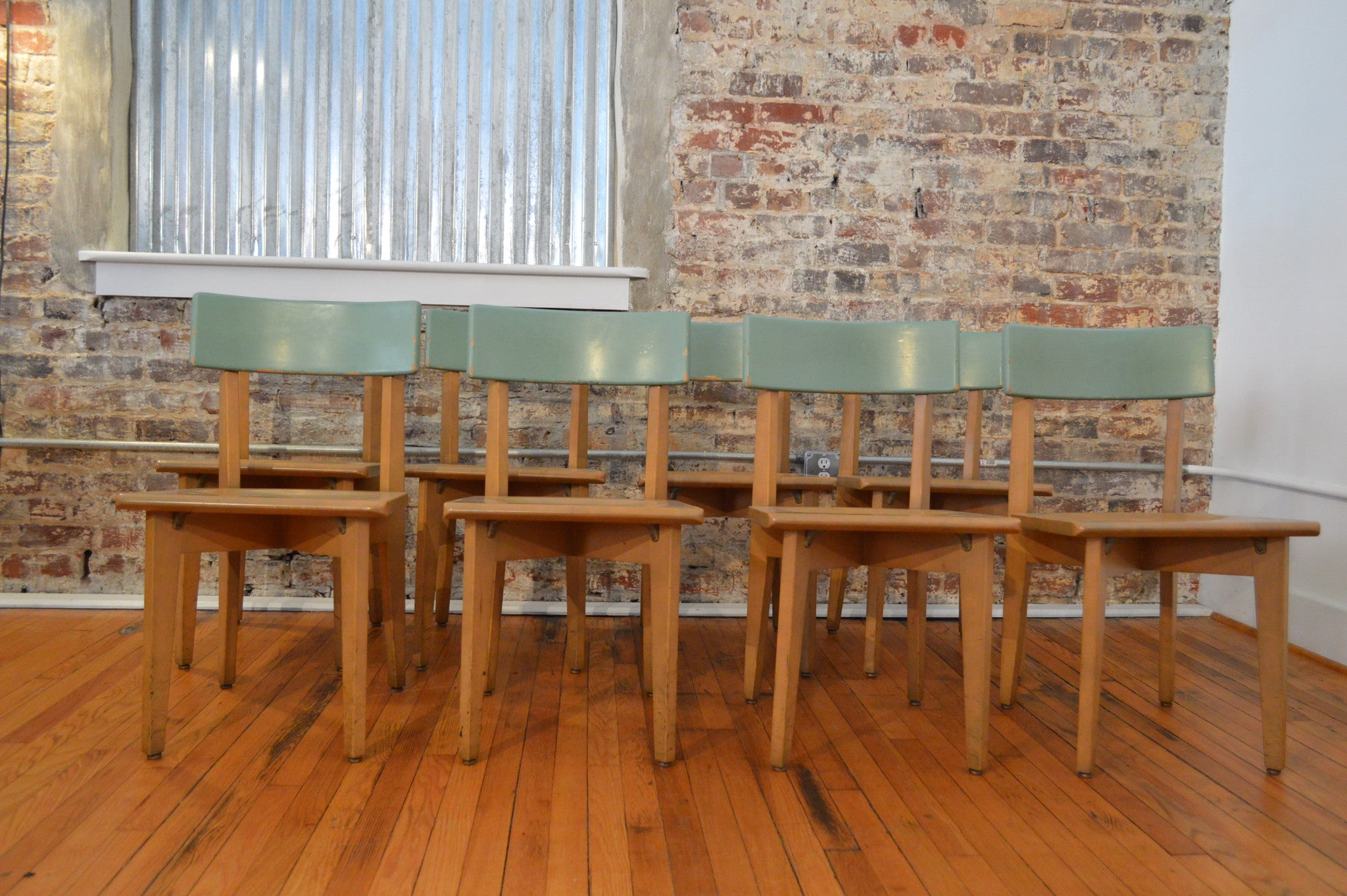 Phenomenal Set Of Eight Mid Century Gunlocke Chairs In Retro Green Gmtry Best Dining Table And Chair Ideas Images Gmtryco
