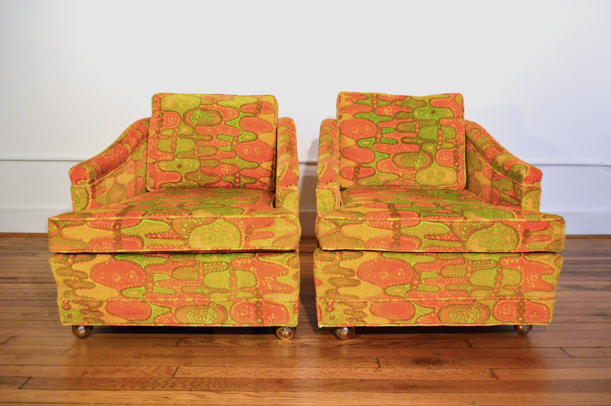 Mid Century Lounge Chairs In Fabric By Jack Lenor Larsen