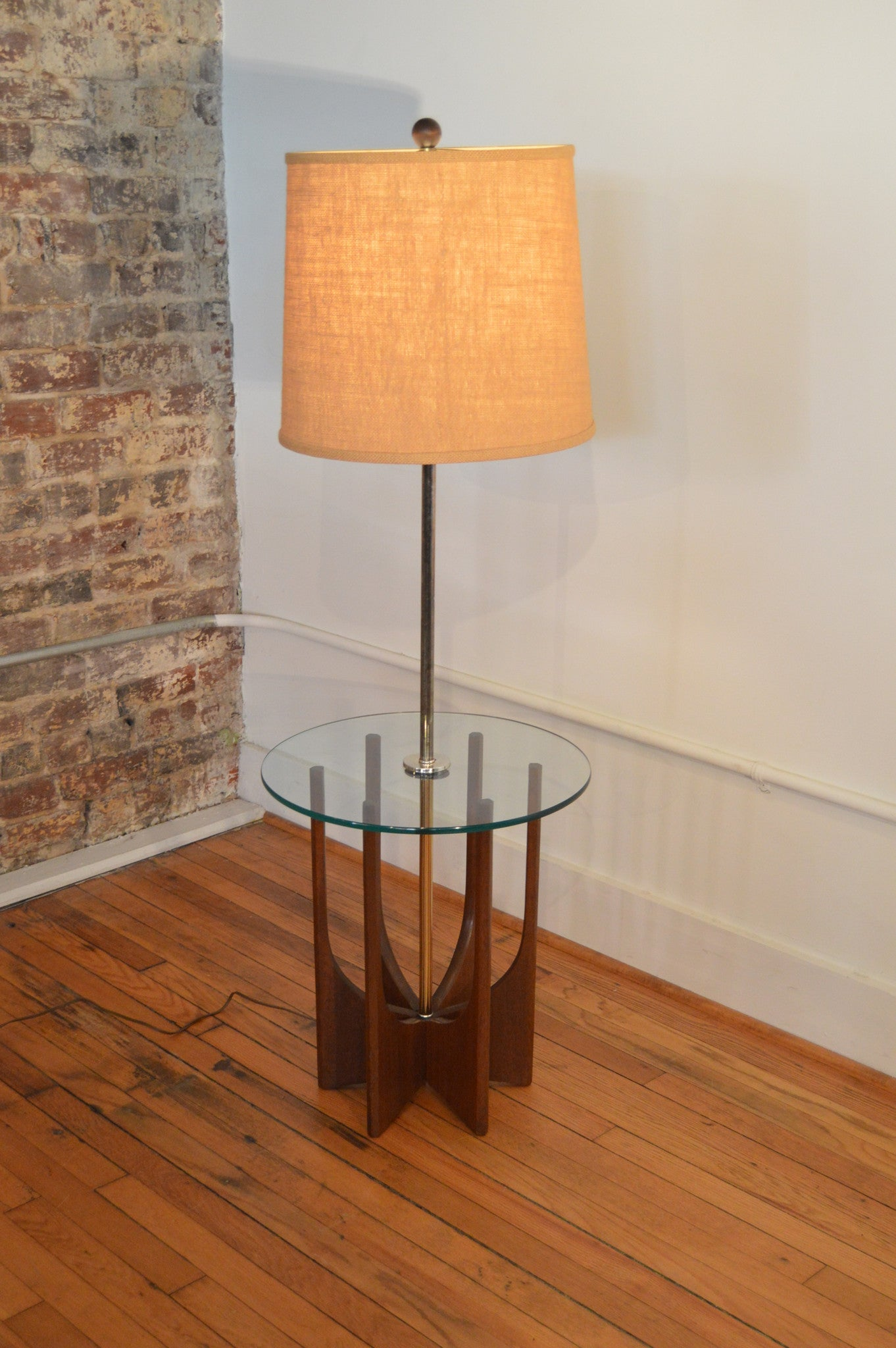 Image of: Adrian Pearsall Style Brass And Walnut Floor Lamp Side Table Mid C Galaxiemodern