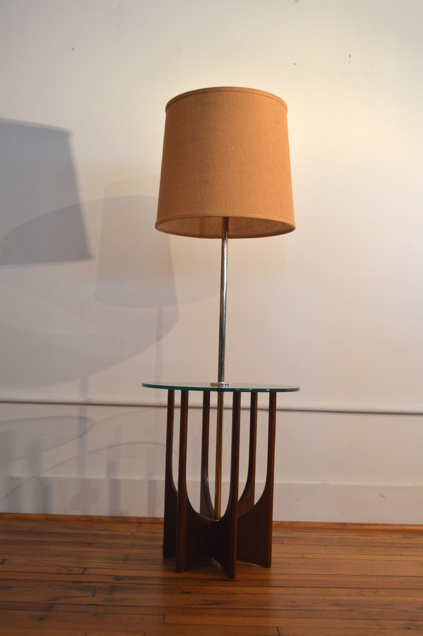 Adrian Pearsall Style Brass And Walnut Floor Lamp / Side Table   Mid  Century Modern Floor Lamp