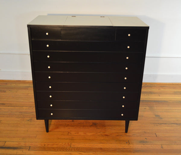 American Of Martinsville Ebonized Chest Of Drawers With