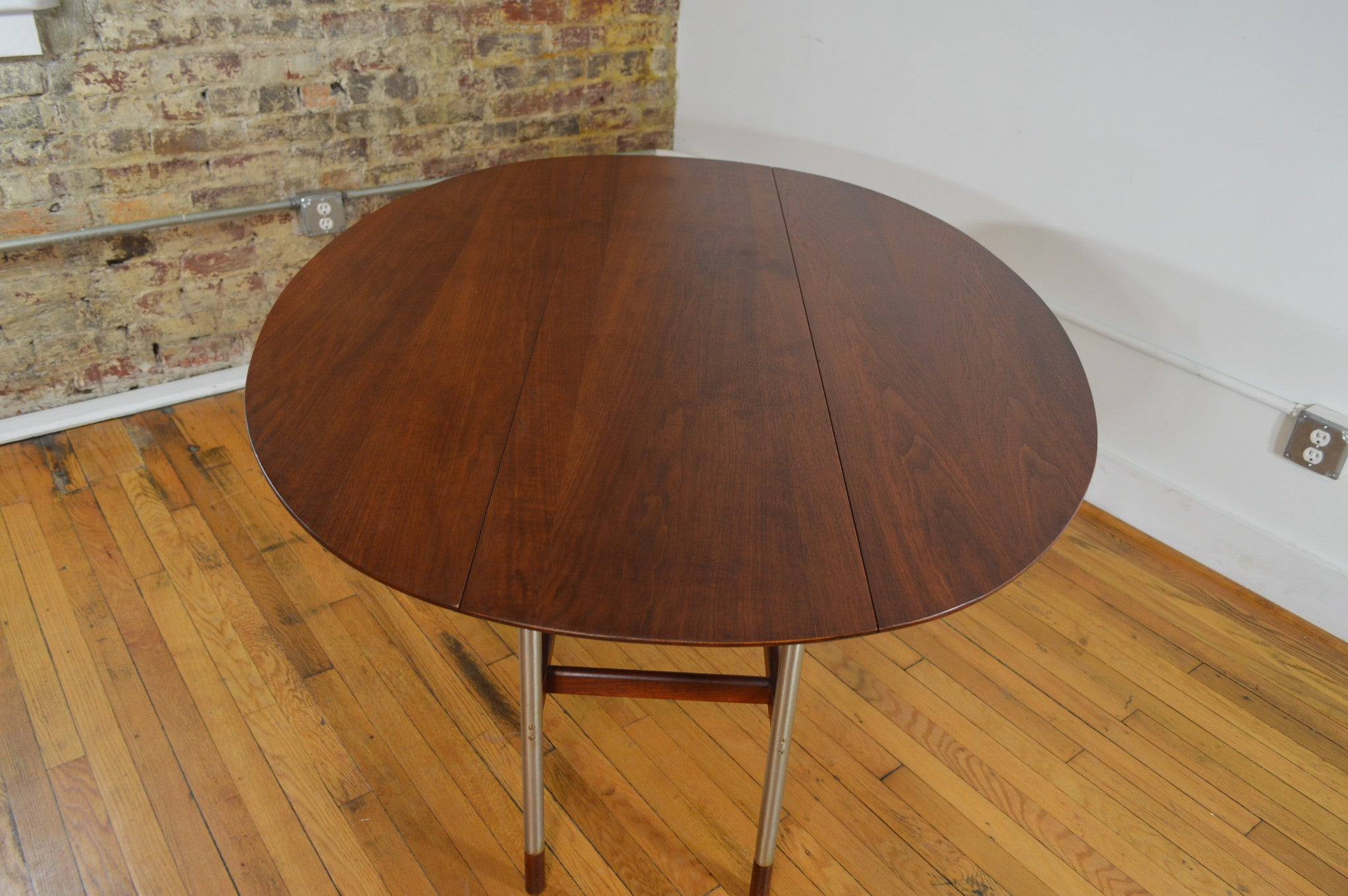 Arne Vodder Attr Aluminum And Walnut Drop Leaf Dining Table