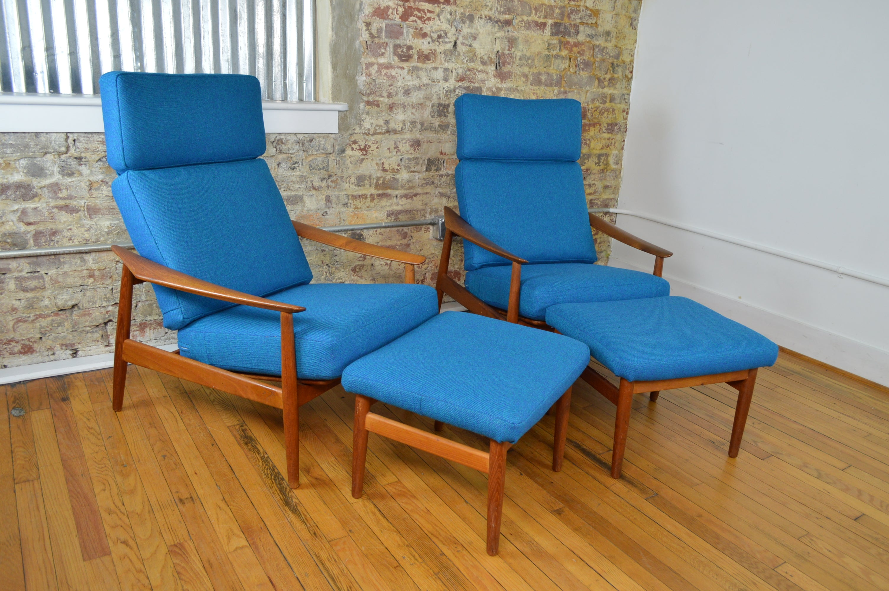 Arne Vodder For France Sons Danish Teak Reclining Lounge Chairs