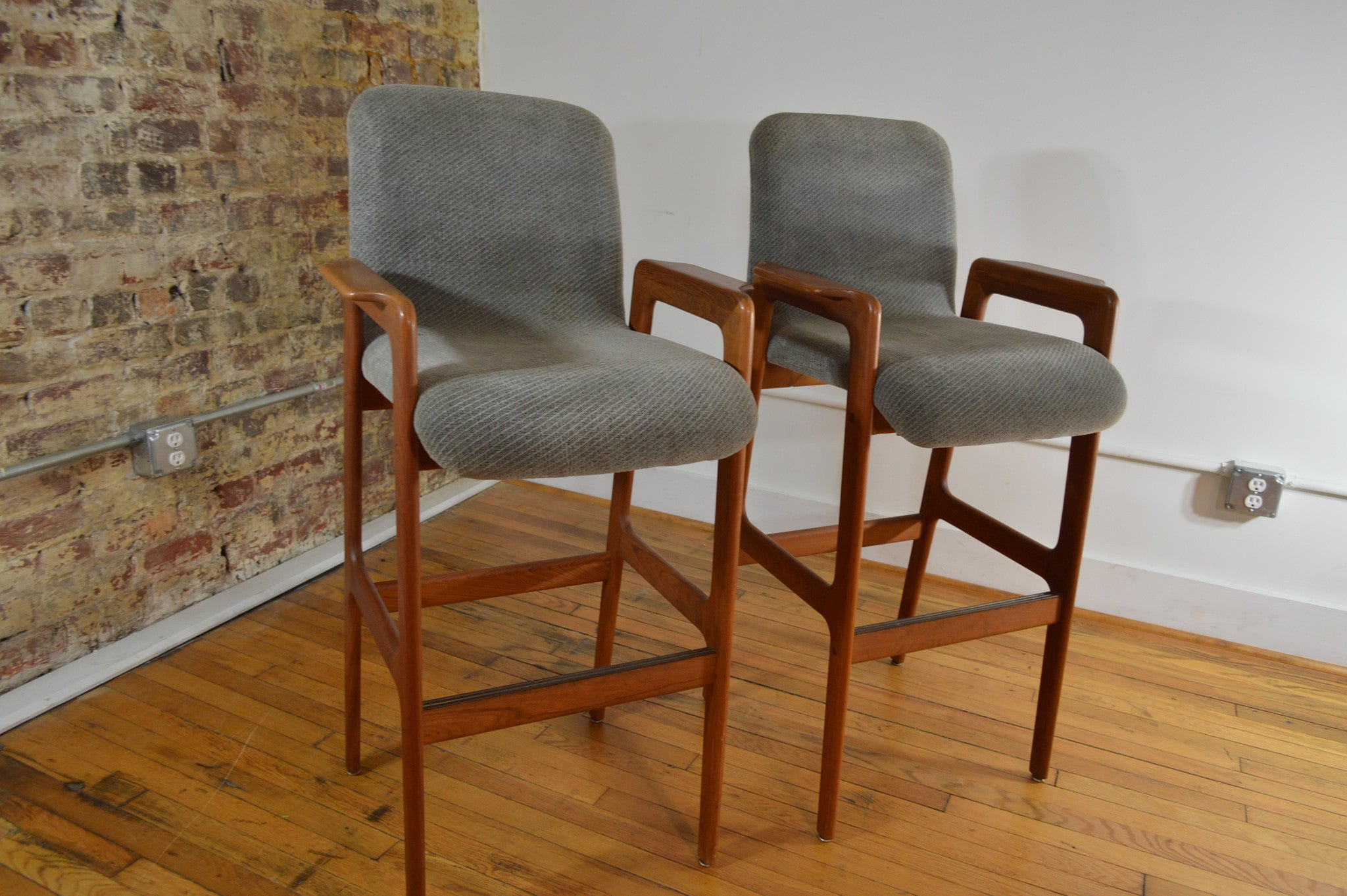 danish teak bar stools tall with arms set of 2 two tall midcentury modern